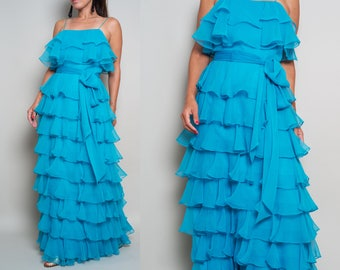 1970s// I Magnin// Turquoise Blue// Ruffle Tiered Chiffon Gown// Maxi Dress// S-M