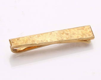 Vintage 14k yellow gold Rectangle Tie Bar Matte Men's Estate