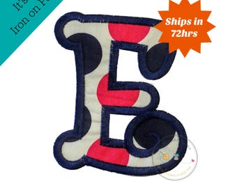 Chunky curls letter E iron on applique, Girls nautical monogram, iron on initial E, Blue and pink monogram letter E, Ready to ship