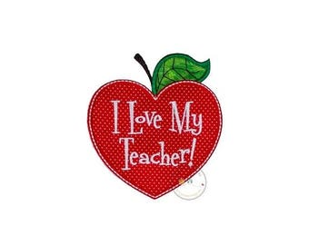 ON SALE NOW I love my teacher heart shapped apple no sew applique- red heart apple embroidered fabric patch- back to school patch from cloth