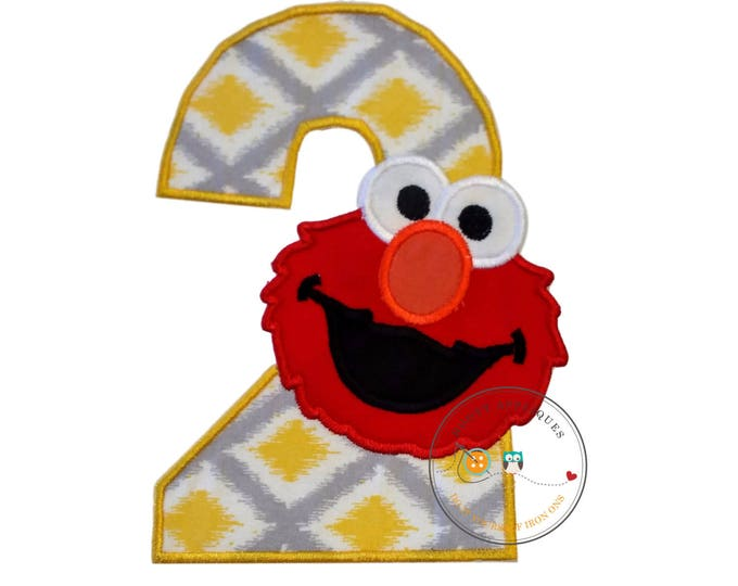 Yellow and gray birthday number 2 with red monster iron on applique- second birthday machine embroidered fabric no sew patch-DIY