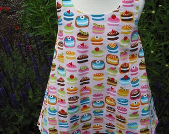 Child's REVERSIBLE cupcake sundress with coordinating headband.  100% cotton. Size 2T.
