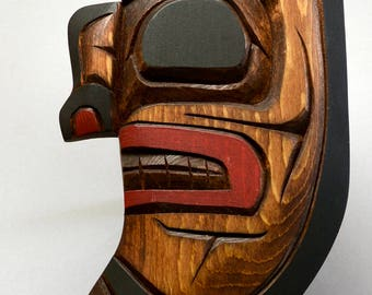 Hand Carved Haida Cedar Moon Sculpture - Signed by Artist