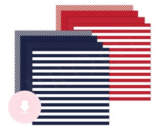 INSTANT DOWNLOAD Red and Navy Patterned Paper (Boys Nautical Party, Nautical Paper, Polka Dot Paper, Striped Paper, Printable Paper)