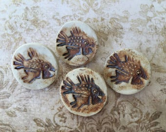 4 Handsome Vintage Clay Artist Made Buttons with Fish Motif