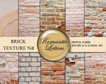 Sale 60% Brick texture digital scrapbook  paper pack brick digital backdrop brick wall digital texture digital background shabby chic brick