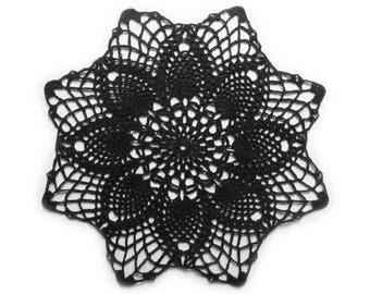"Black Doily - Round Pineapple, 10"", Egyptian Cotton - Lace Crochet Modern Geometric Gothic Victorian Home Decor Halloween Ironwork Gift"