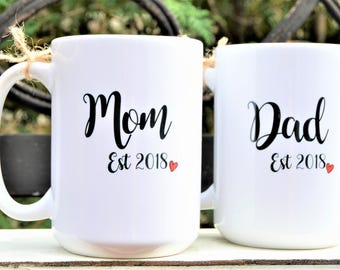 New MOM or DAD Est. Year Mugs, Cute Pregnancy Announcement or New Baby Gift, Mommy and Daddy Mugs, Coffee mugs for new parents