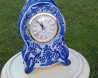 Flow Blue China footed Mantle Clock