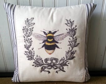 French Country Pillow - French Pillow - 12 x 12 Pillow - French Country Decor - French Wreath And Bee- French Ticking - Country Cottage