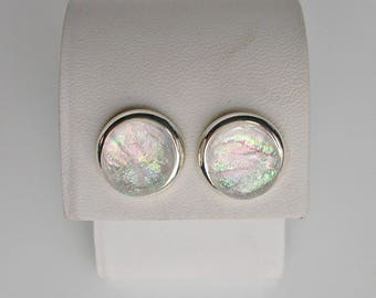 Clear Rainbow Dichroic Glass Earrings Dichroic Glass Jewelry Fused Glass Jewelry Stud Earrings