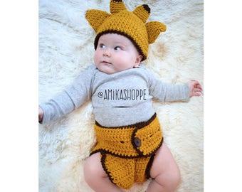 Giraffe Hat and Diaper Set - diaper set - animal diaper set - baby photo prop - boys girls diaper set - new baby gift - baby shower gift