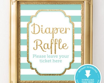 Mint and Gold Baby Shower Sign - Mint and Gold Diaper Raffle - Gold Glitter Baby Shower - Boy Baby Shower - Gender Neutral Instant Download