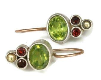 Oval Peridot  Earrings, Amulet Earring Drops, Green Gemstone Earrings, Bezel Set Peridot   Artisan Handmade by Sheri Beryl