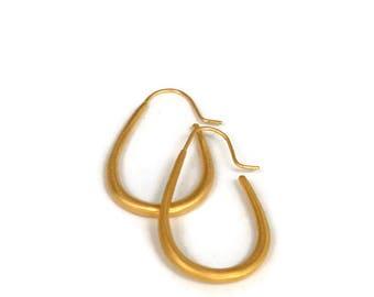 Large Gold Hoop Earrings,  Modern eardrop Gold Vermeil Hoops, Large Hoops, Artisan Handmade  by Sheri Beryl