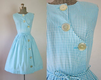 1950's Blue and White Gingham Day Dress / Size Medium