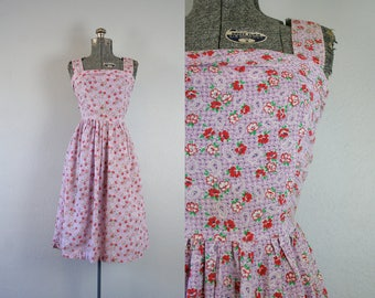 1940's Purple Floral Print Cotton Sun Dress / Size Small