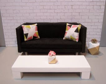 1:12 scale Modern Dollhouse Coffee Table in Bright White (Long rectangular version)
