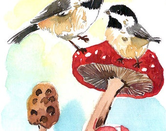 ACEO Limited Edition 1/25- Playing in the forest mushroom, Chickadees, Cute bird art print of an original watercolor, Gift for bird lovers