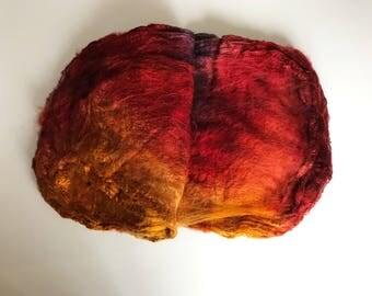 Hand Dyed Silk Fiber Mawata Silk Hankies for Felting, Spinning, Knitting. GOLD, RUST and GRAY.