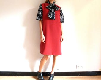 Straight dress in crepe red bordeaux