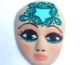 Polymer clay, art doll face, face, goddess face, spirit face, blues and greens, treasuredwishes, cabochon, face cab