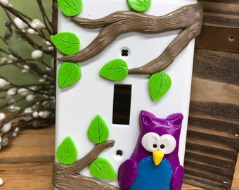 Owl Switch Plate Cover, Single Switch Plate, Owl Decor, Owl Light Switch