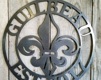 Customizable Round Steel Wall Mount Style 3 Fleur de lis Personalized Metal