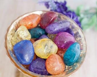 Tumbled Crackle Quartz - Colored Quartz - Cracked Quartz - Color Quartz - Crystal Grid