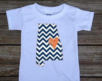 SALE Alabama Navy Orange Baby Toddler Children Kids Love Boy Girl T-shirt or Bodysuit - Your Choice of Any State and Colors