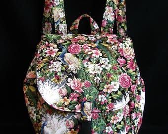 Small backpack- Peacock floral print cotton