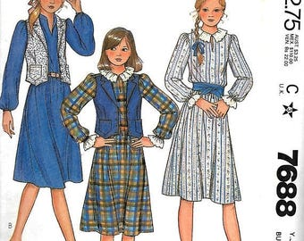 ON SALE McCall's 7688 Junio/Teen Dress And Vest Pattern, 5/6 & 7/8, UNCUT