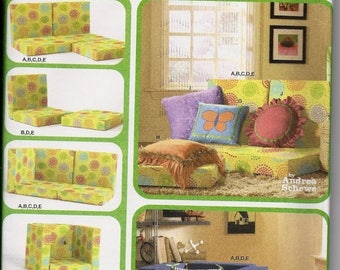 ON SALE Build You Own Couch with Pillows, Lounge Seating, Teen Room, Rec Room, Simplicity 4121, UNCUT