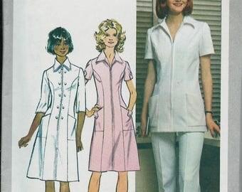 ON SALE Retro Diner Dress or Nurses Dress, Pants and Tunic Pattern, Simplicity 9506, Sizes 10, 12, 14, 14 1/2 & 18, UNCUT