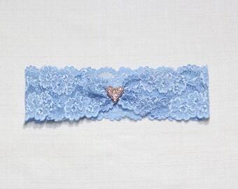 Crystal heart garter, blue lace garter, Jewelry garter, Something blue garter, blue garter