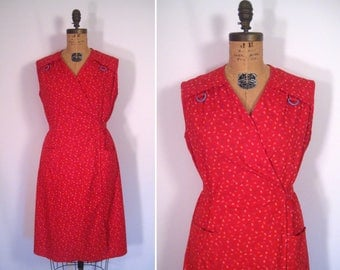 1970s red ditsy floral print sundress • 70s flower print wrap dress • vintage bits and pieces dress