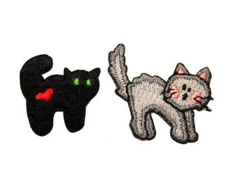 ID 0910AB Set of 2 Cat Scary Patches Halloween Kitty Embroidered Iron On Applique