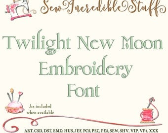Twilight New Moon Machine Embroidery Font,  Upper Case, Lower Case and Numerals