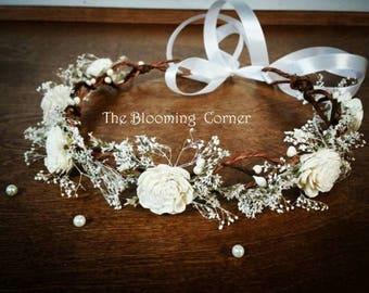 wedding accessories, bridal headband, bridal hair flower, sola rustic flower bridal hair crown, woodland wedding, bridal headpiece