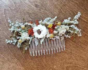 Bridal Hair combs, fall Hair comb, Ready to ship, Dried hair comb, Flower hair piece,  dried flower comb, Wedding Hair Accessories, flower