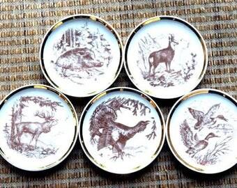 Vintage Porcelain German Boar Rooster Sheep Elk Duck Coasters Mini Plates Gold Trim
