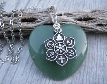 Coexist pendant etsy jade coexist necklace large green gemstone heart pendant lotus flower jewelry buddhist necklace aloadofball Gallery