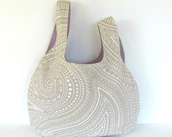 Project bag for knitting, crochet bag, Eco-friendly Yarn bag, Knitter's Gift in Beige Paisley