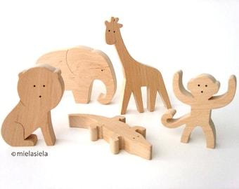 Wooden jungle animals - Elephant, Lion, Monkey, Giraffe, Crocodile - Rainforest animals - Holztiger wooden animals - Safari