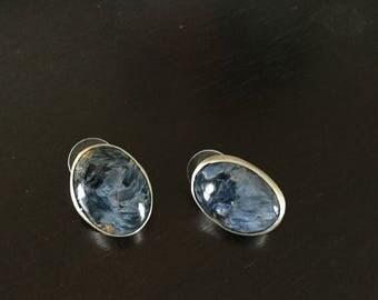 Pietersite bezel set in sterling post earrings
