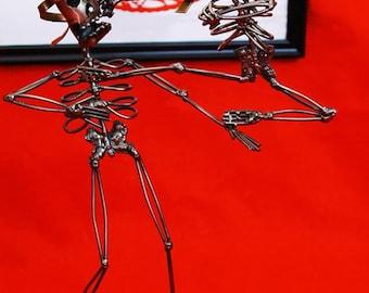 Wire sculpture, martial arts, skeleton figurines, karate, kung fu, taekwondo, sensei, MMA, kickboxing, skeleton sculpture,  metal wire art