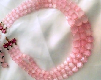 Necklace Vintage Pink Soft Luminous Cats Eye Multistrand Gold  3 Strands Glamorous Elegant Runway, Bridal Wear, Bohemian Chic Day to Evening