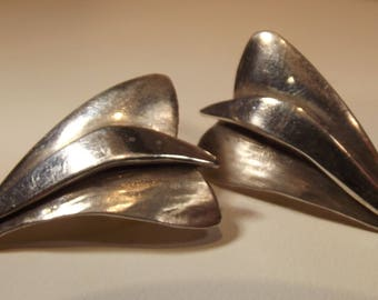Earrings Vintage  Abstract Petal Design Signed Post Back Style Medium Size Unique Artisan Crafted D Barner Sterling
