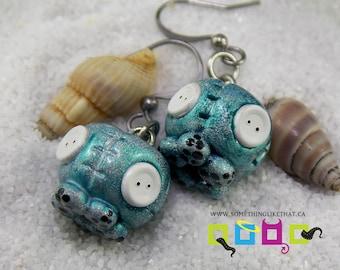 Kawaii Octopus Faux Plush Drop Dangle Earrings- Holographic
