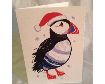 Puffin Christmas greetings card
